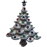 Vintage Signed Gerry's  Silver Tone Metal Christmas Tree Pin Broach