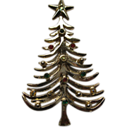 Vintage Signed Tancer II Book Piece Christmas Tree Pin Broach