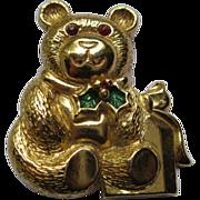 Vintage Signed Gerry's Christmas Teddy Bear Pin Broach