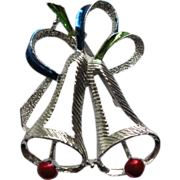 Signed Gerry's Christmas Bells Silver Tone Metal Pin Broach