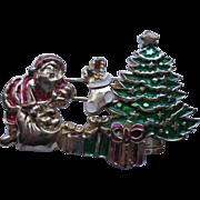 Signed BG Santa Claus & Christmas Tree Pin Broach