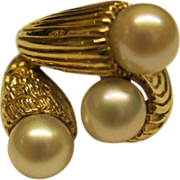 Vintage Estate 14 K Yellow Gold and Pearl Ring Sz 6.5