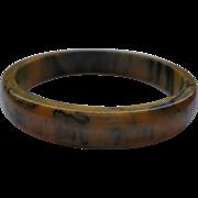 Rare Vintage Butterscotch Marbled Bakelite Bangle Bracelet