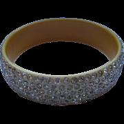 Vintage Wide Celluloid Rhinestone Bracelet Bangle
