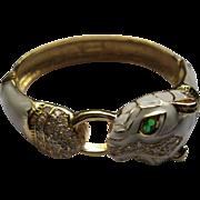 Signed Noir White Enamel Crystal Green Eyed Cougar Hinged Bangle Bracelet