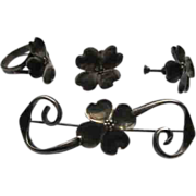 Staurt NYE Sterling Silver Dogwood Blossom Broach Earrings Ring Set