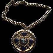 Vintage Large Blue Enamel & Gold Metal Circular Crest Pendant Necklace