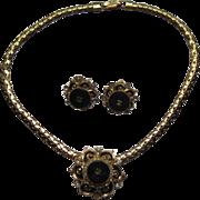 Vintage Onyx Enamel Rhinestone Pendant Necklace Earrings Set
