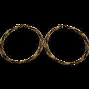 """1980's 14 Karat Gold Twisted 2 1/8"""" Diameter Hoop Earrings Italy"""