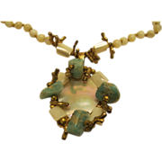 Signed Miriam Haskell Turquoise Mother of Pearl White Bead Necklace Pendant