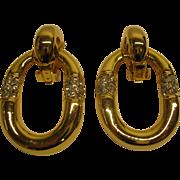 Large Vintage Door Knocker Clip Earrings Gold Tone Metal Rhinestones