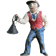 Antique Black Americana Cast Iron Jockey Statue with Iron Lamp