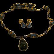 Signed Hattie Carnegie Art Glass Beaded Necklace Pendant & Clip Earrings Set