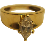 Signed 14 Karat Yellow Gold With Marquis CZ Solitaire 4.7 Grams Sz 7.5