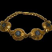 Signed Simmons Gold Tone Metal Aqua Stone Bracelet