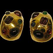 SOLD Vintage Ciner Chunky Jeweled Gold Tone Metal Clip Hoop Earrings