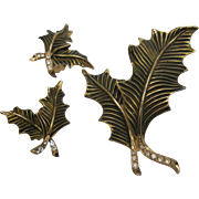 Holly Leaf Pin Broach & Clip Earrings Set