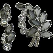 Vintage Gray & Clear Rhinestone Pin Broach Clip Earrings Set