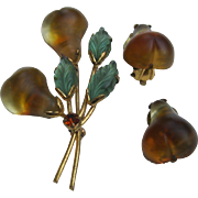 Signed Austria Pear Molded Frosted Glass Pin Broach & Clip Earrings Set
