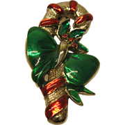 Vintage Signed Gig Christmas Candy Cane Pin Broach