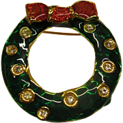 Vintage Signed LIA Jeweled Enamel Christmas Wreath Pin Broach