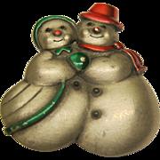 Vintage Signed JJ Snowman Snow Woman Christmas Pin Broach