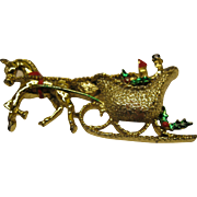 Vintage Signed Gerry's Christmas Sleigh Pin Broach