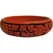 Vintage Chinese Cinnabar Red Black Floral Design Bangle Bracelet