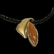 Signed Bastian Inverun Modernist Sterling Silver  Chalcedony Pendant Necklace