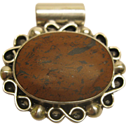 Vintage Handcrafted Mexico Sterling Silver Pendant with Reddish Brown Gemstone