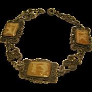 Stamped 800 Silver Victorian Cameo Filigree Bracelet
