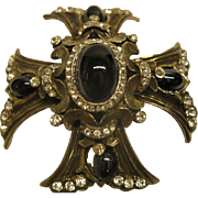 Vintage Jeweled Maltese Cross Pendant Pin Broach