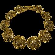 Vintage Floral Rhinestone Gold Tone Metal Link Bracelet