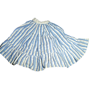 Small Size Old Blue and White Stripe Doll Skirt