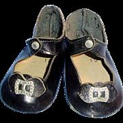 Vintage Black Leather Center Snap Doll Shoes
