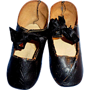 Antique German Black Leather Flat Sole Doll Shoes