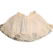 Antique White Cotton and Lace Doll Half Slip