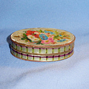Colorful Floral Dresden Paper Covered Victorian Candy Container Box