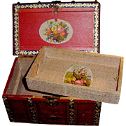 SOLD Small Size Antique Lithographed Paper and Wood Doll Trunk