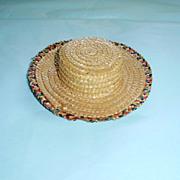 Small Natural Fine Straw Doll Hat circa 1910