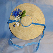 1950's Straw Doll Hat with Blue Velvet Ribbon and Flower Trim