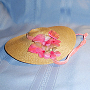 1950's Straw Doll Hat with Pink Velvet Ribbon and Flower Trim