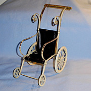 SOLD Small Size Adorable Painted White Metal and Oilcloth Doll Stroller