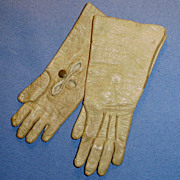 SOLD Antique Small Size Leather Doll Gloves