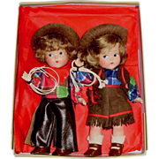 SOLD Toddles Pair Vogue Cowgirl and Cowboy Ginny Composition Dolls
