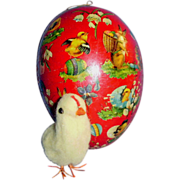 Old German Paper Mache Easter Egg Candy Container with Chick