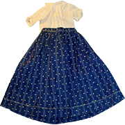 Antique Two Piece Doll Outfit Shirt and Calico Skirt