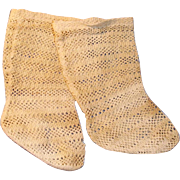 Antique German Lacy Off White Cotton Doll Socks