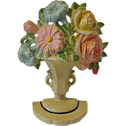 Cast Iron Hubley Urn of Flowers Doorstop or Bookend #162