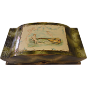 Antique Celluloid Cherubs Vanity Box with Contents